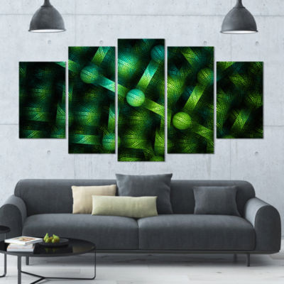 Crystal Cell Green Steel Texture Contemporary Canvas Art Print - 5 Panels