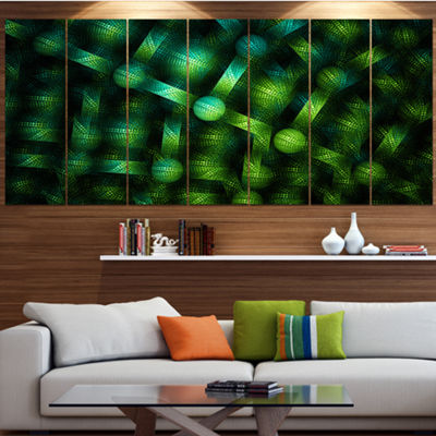 Designart Crystal Cell Green Steel Texture Contemporary Canvas Art Print - 5 Panels