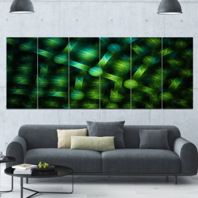 Crystal Cell Green Steel Texture Abstract Canvas Art Print - 6 Panels