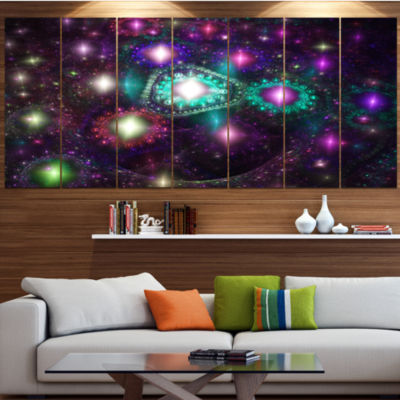 Far Bright Colorful Space Galaxy Abstract Canvas Art Print - 4 Panels