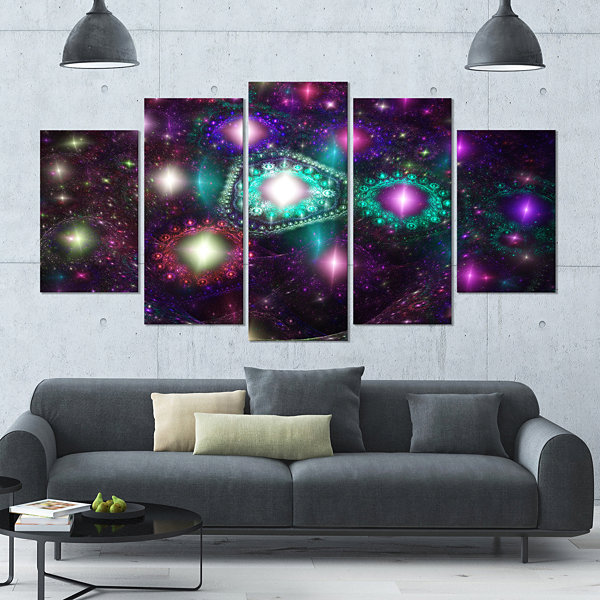 Far Bright Colorful Space Galaxy Contemporary Canvas Art Print - 5 Panels