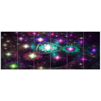 Far Bright Colorful Space Galaxy Abstract Canvas Art Print - 6 Panels