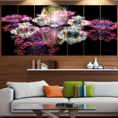 Pink Water Drops On Mirror Abstract Canvas Art Print - 5 Panels