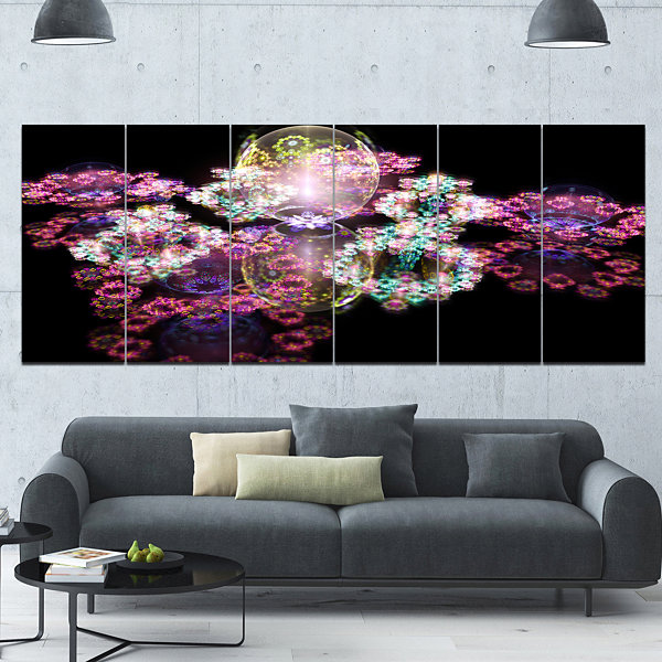 Pink Water Drops On Mirror Abstract Canvas Art Print - 6 Panels