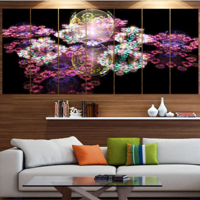 Pink Water Drops On Mirror Abstract Canvas Art Print - 7 Panels