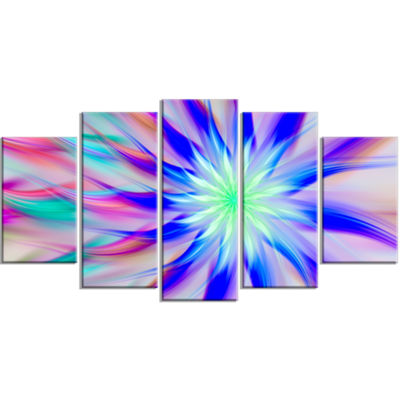Exotic Blue Fractal Spiral Flower Contemporary Canvas Art Print - 5 Panels