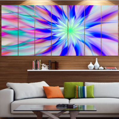 Exotic Blue Fractal Spiral Flower Abstract CanvasArt Print - 7 Panels