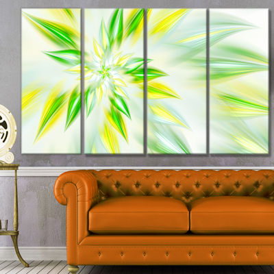 Light Green Fractal Spiral Flower Abstract CanvasArt Print - 4 Panels