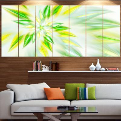 Light Green Fractal Spiral Flower Abstract CanvasArt Print - 7 Panels