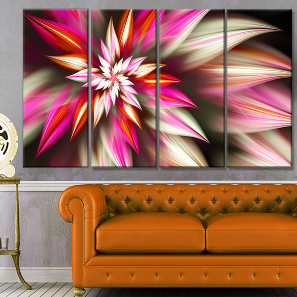 Exotic Red Fractal Spiral Flower Abstract Canvas Art Print - 4 Panels