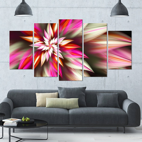 Exotic Red Fractal Spiral Flower Contemporary Canvas Art Print - 5 Panels