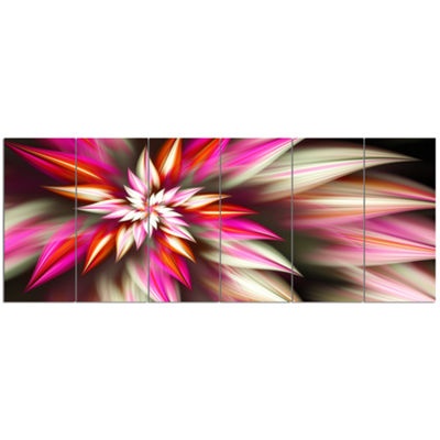 Exotic Red Fractal Spiral Flower Abstract Canvas Art Print - 6 Panels