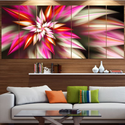 Exotic Red Fractal Spiral Flower Abstract Canvas Art Print - 7 Panels