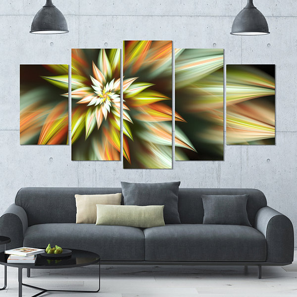 Exotic Brown Fractal Spiral Flower Contemporary Canvas Art Print - 5 Panels