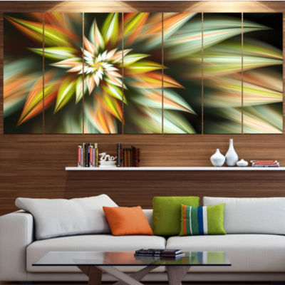 Exotic Brown Fractal Spiral Flower Abstract CanvasArt Print - 7 Panels