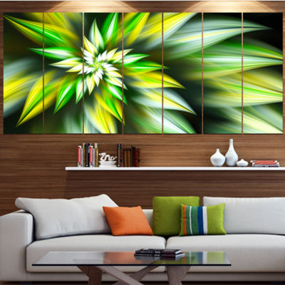 Exotic Green Fractal Spiral Flower Contemporary Canvas Art Print - 5 Panels