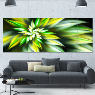 Exotic Green Fractal Spiral Flower Abstract CanvasArt Print - 6 Panels