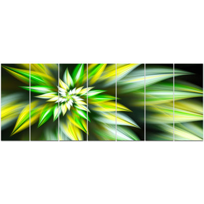 Exotic Green Fractal Spiral Flower Abstract CanvasArt Print - 7 Panels