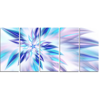 Light Blue Fractal Spiral Flower Abstract Canvas Art Print - 5 Panels