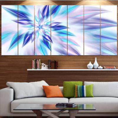 Light Blue Fractal Spiral Flower Abstract Canvas Art Print - 7 Panels