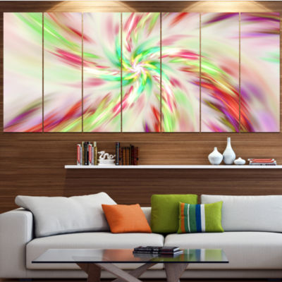 Exotic Multi Color Spiral Flower Contemporary Canvas Art Print - 5 Panels