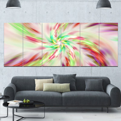 Exotic Multi Color Spiral Flower Abstract Canvas Art Print - 6 Panels