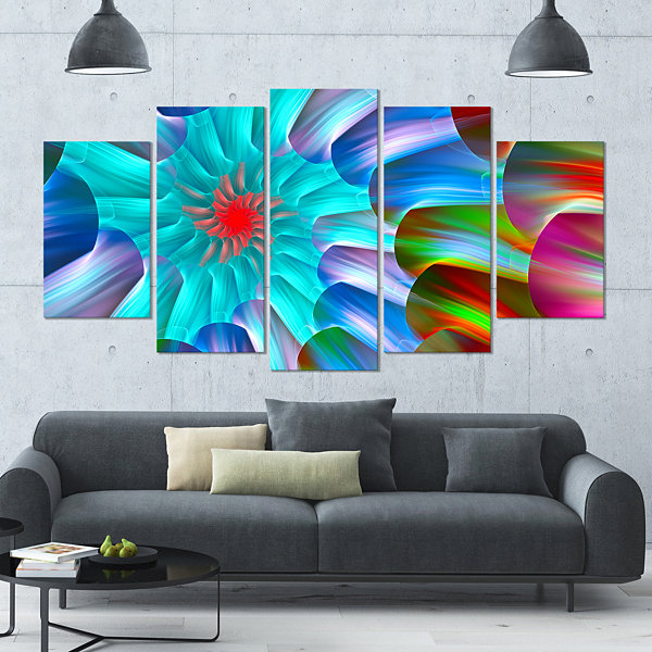 Multi Layered Fractal Spirals Contemporary CanvasArt Print - 5 Panels