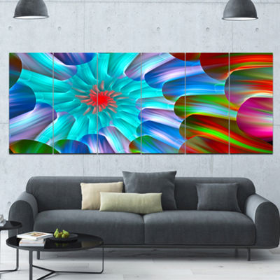 Multi Layered Fractal Spirals Abstract Canvas ArtPrint - 6 Panels