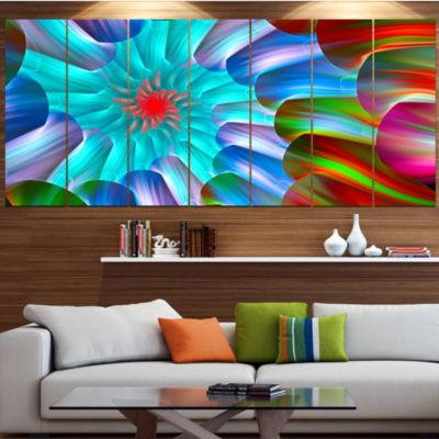 Multi Layered Fractal Spirals Abstract Canvas ArtPrint - 7 Panels