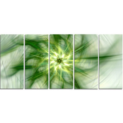 Rotating Bright Green Flower Abstract Canvas Art Print - 5 Panels