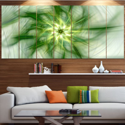 Rotating Bright Green Flower Abstract Canvas Art Print - 6 Panels