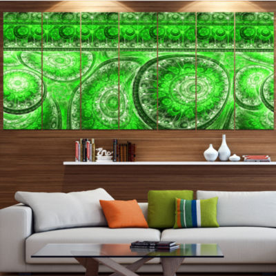 Green Living Cells Fractal Design Abstract CanvasArt Print - 4 Panels