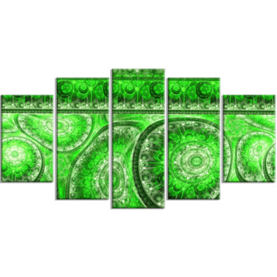 Green Living Cells Fractal Design Contemporary Canvas Art Print - 5 Panels