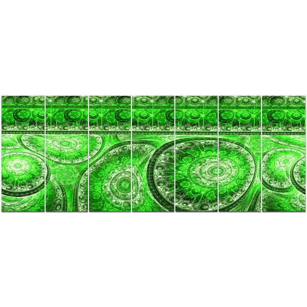Green Living Cells Fractal Design Abstract CanvasArt Print - 7 Panels