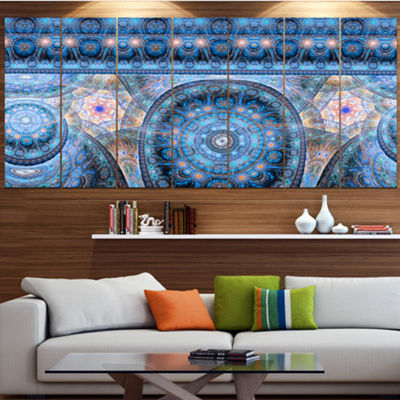 Light Blue Living Cells Fractal Design Abstract Canvas Art Print - 6 Panels