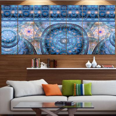 Light Blue Living Cells Fractal Design Abstract Canvas Art Print - 7 Panels