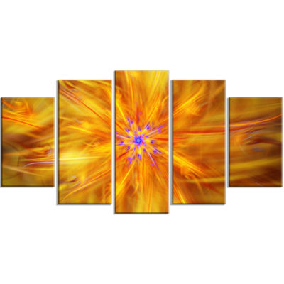Glowing Brightest Star Exotic Flower ContemporaryCanvas Art Print - 5 Panels
