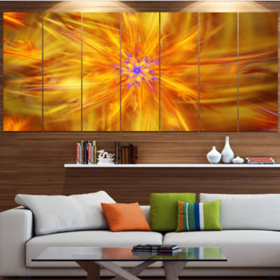 Glowing Brightest Star Exotic Flower Abstract Canvas Art Print - 6 Panels