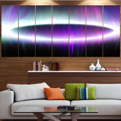 Designart Beautiful Purple Northern Lights Abstract Canvas Art Print - 4 Panels