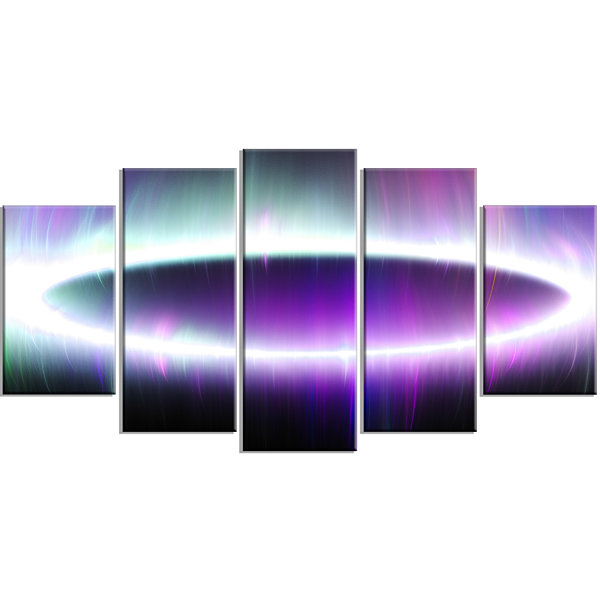 Designart Beautiful Purple Northern Lights Contemporary Canvas Art Print - 5 Panels
