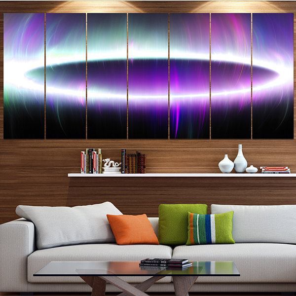 Designart Beautiful Purple Northern Lights Abstract Canvas Art Print - 6 Panels
