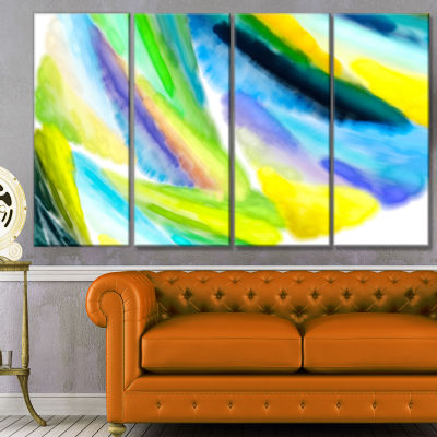 Green Vibrant Brushstrokes Abstract Canvas Art Print - 4 Panels