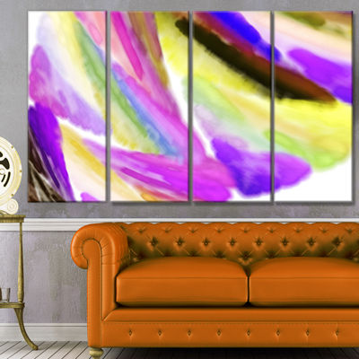 Purple Vibrant Brushstrokes Abstract Canvas Art Print - 4 Panels