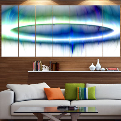 Designart Beautiful Blue Northern Lights Blue Abstract Canvas Art Print - 5 Panels
