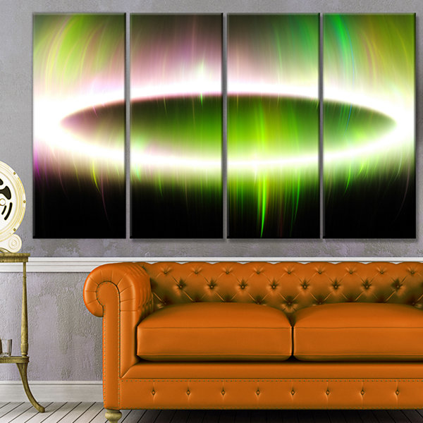 Designart Beautiful Green Northern Lights AbstractCanvas Art Print - 4 Panels