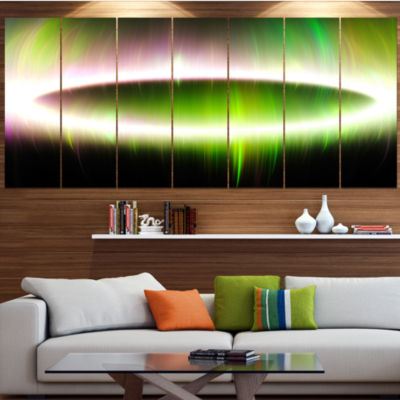 Beautiful Green Northern Lights Contemporary Canvas Art Print - 5 Panels