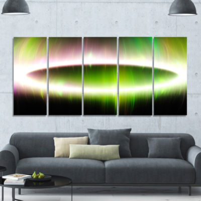Beautiful Green Northern Lights Abstract Canvas Art Print - 5 Panels