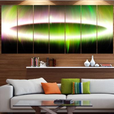 Design Art Beautiful Green Northern Lights Abstract Canvas Art Print - 6 Panels