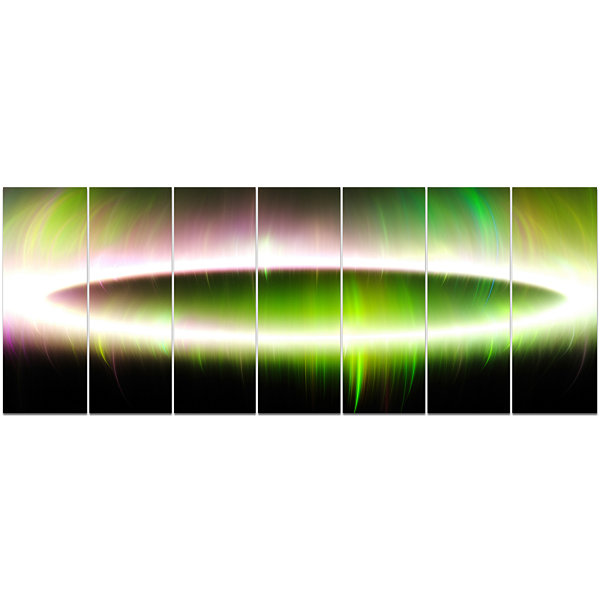 Designart Beautiful Green Northern Lights AbstractCanvas Art Print - 7 Panels