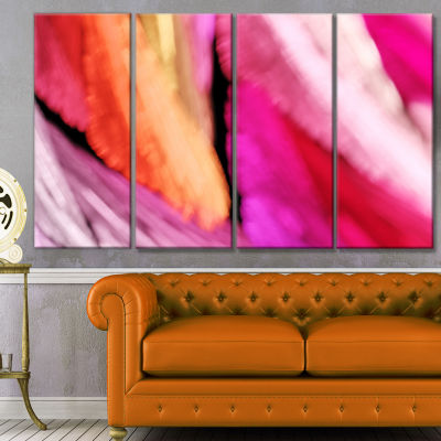 Red Vibrant Brushstrokes Abstract Canvas Art Print- 4 Panels